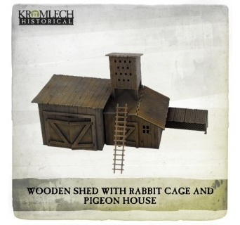 Wooden Shed with Rabbit Cage and Pigeon House