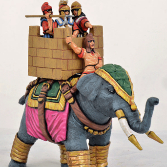 Successor Elephant, Quilted Armour, Stone Effect Howdah, Standing Crew