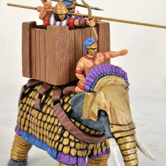 Successor Elephant, Crested Head, Wooden Howdah, Attacking Crew